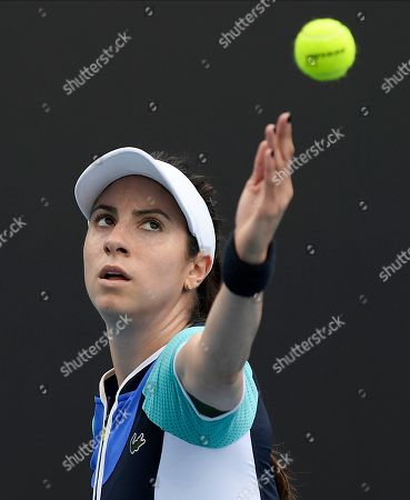 United States' Christina McHale reacts as he plays Croatia's Petra Martic in their first round singles match the Australian Open tennis championship in Melbourne, Australia