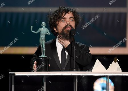 """Peter Dinklage accepts the award for outstanding performance by a male actor in a drama series for """"Game of Thrones"""" at the 26th annual Screen Actors Guild Awards at the Shrine Auditorium & Expo Hall, in Los Angeles"""