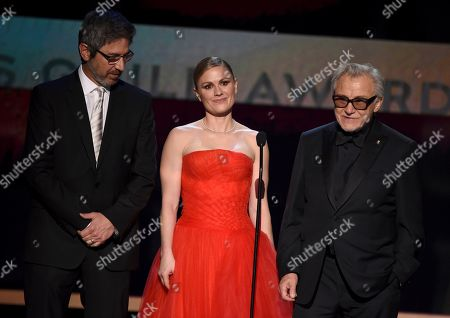 """Ray Romano, Anna Paquin, Harvey Keitel. Ray Romano, from left, Anna Paquin, and Harvey Keitel introduce a clip from """"The Irishman"""" at the 26th annual Screen Actors Guild Awards at the Shrine Auditorium & Expo Hall, in Los Angeles"""