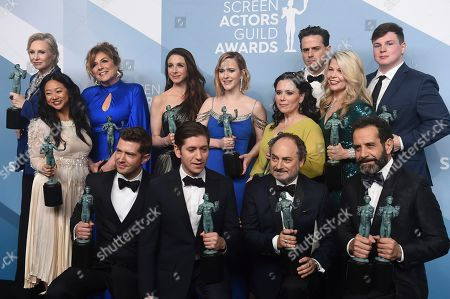 "Caroline Aaron, Jane Lynch, Stephanie Hsu, Marin Hinkle, Rachel Brosnahan, Alex Borstein, Matilda Szydagis, Michael Zegen, Kevin Pollak, Tony Shalhoub, Joel Johnstone, Sean Tarantina. Jane Lynch, top from left, Caroline Aaron, Marin Hinkle, Rachel Brosnahan, Alex Borstein, Luke Kirby, Matilda Szydagis, Sean Tarantina, Stephanie Hsu, Joel Johnstone, Michael Zegen, Kevin Pollak and Tony Shalhoub pose in the press room with the award for outstanding performance by an ensemble in a comedy series for ""The Marvelous Mrs. Maisel"" at the 26th annual Screen Actors Guild Awards at the Shrine Auditorium & Expo Hall, in Los Angeles"