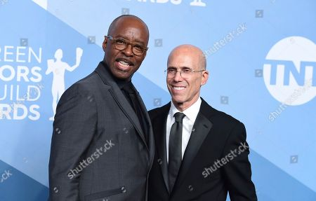 Courtney B. Vance, Jeffrey Katzenberg. Courtney B. Vance, left, and Jeffrey Katzenberg pose in the press room at the 26th annual Screen Actors Guild Awards at the Shrine Auditorium & Expo Hall, in Los Angeles