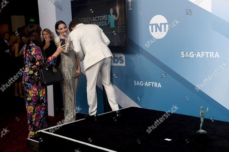 """Stock Photo of Leslie Bibb, Sam Rockwell. Leslie Bibb, left, congratulates Sam Rockwell, winner of the award for outstanding performance by a male actor in a television movie or miniseries for """"Fosse/Verdon"""" in the press room at the 26th annual Screen Actors Guild Awards at the Shrine Auditorium & Expo Hall, in Los Angeles"""