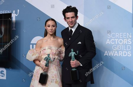 """Erin Doherty, Josh O'Connor. Erin Doherty, left, and Josh O'Connor pose in the press room with the award for outstanding performance by an ensemble in a drama series for """"The Crown"""" at the 26th annual Screen Actors Guild Awards at the Shrine Auditorium & Expo Hall, in Los Angeles"""