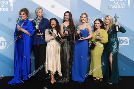 """Stock Image of Caroline Aaron, Jane Lynch, Stephanie Hsu, Marin Hinkle, Rachel Brosnahan, Alex Borstein, Matilda Szydagis. Caroline Aaron, from left, Jane Lynch, Stephanie Hsu, Marin Hinkle, Rachel Brosnahan, Alex Borstein, and Matilda Szydagis pose in the press room with the award for outstanding performance by an ensemble in a comedy series for """"The Marvelous Mrs. Maisel"""" at the 26th annual Screen Actors Guild Awards at the Shrine Auditorium & Expo Hall, in Los Angeles"""