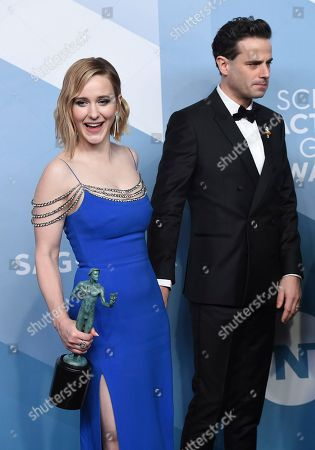 "Rachel Brosnahan, Luke Kirby. Rachel Brosnahan, left, and Luke Kirby pose in the press room with the award for outstanding performance by an ensemble in a comedy series for ""The Marvelous Mrs. Maisel"" at the 26th annual Screen Actors Guild Awards at the Shrine Auditorium & Expo Hall, in Los Angeles"