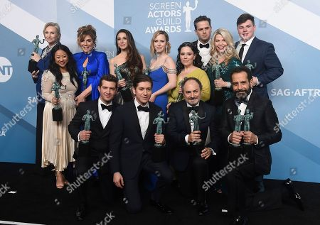 "Jane Lynch, Stephanie Hsu, Carolina Aaron, Marin Hinkle, Rachel Brosnahan, Alex Borstein, Luke Kirby, Matilda Szydagis, Sean Tarantina, Joel Johnstone, Michael Zegen, Kevin Pollak, Tony Shalhoub. Jane Lynch, from top left, Stephanie Hsu, Carolina Aaron, Marin Hinkle, Rachel Brosnahan, Alex Borstein, Luke Kirby, Matilda Szydagis, and Sean Tarantina. Joel Johnstone, from bottom left, Michael Zegen, Kevin Pollak, and Tony Shalhoub pose in the press room with the award for outstanding performance by an ensemble in a comedy series for ""The Marvelous Mrs. Maisel"" at the 26th annual Screen Actors Guild Awards at the Shrine Auditorium & Expo Hall, in Los Angeles"