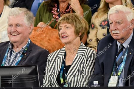 Margaret Court watching 3rd seed ROGER FEDERER (SUI) compete against STEVE JOHNSON (USA) on Rod Laver Arena in a Men's Singles 1st round match on day 1 of the Australian Open in Melbourne, Australia. Federer won 63 62 62