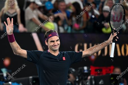 3rd seed ROGER FEDERER (SUI) celebrates after defeating STEVE JOHNSON (USA) on Rod Laver Arena in a Men's Singles 1st round match on day 1 of the Australian Open in Melbourne, Australia. Federer won 63 62 62