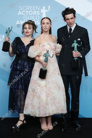 Helena Bonham Carter, Erin Doherty and Josh O'Connor pose with the SAG Award for Outstanding Performance by an Ensemble in a drama series for 'The Crown' during the 26th annual Screen Actors Guild Awards ceremony at the Shrine Auditorium in Los Angeles, California, USA, 19 January 2020.