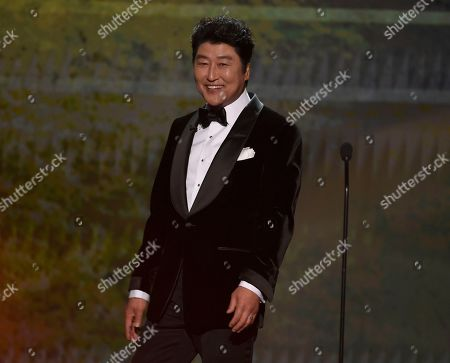 "Kang-Ho Song appears on stage to introduce a clip from ""Parasite at the 26th annual Screen Actors Guild Awards at the Shrine Auditorium & Expo Hall, in Los Angeles"