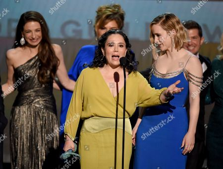 """Alex Borstein, Rachel Brosnahan. Alex Borstein, front left, and Rachel Brosnahan accept the award for outstanding performance by an ensemble in a comedy series for """"The Marvelous Mrs. Maisel"""" at the 26th annual Screen Actors Guild Awards at the Shrine Auditorium & Expo Hall, in Los Angeles"""