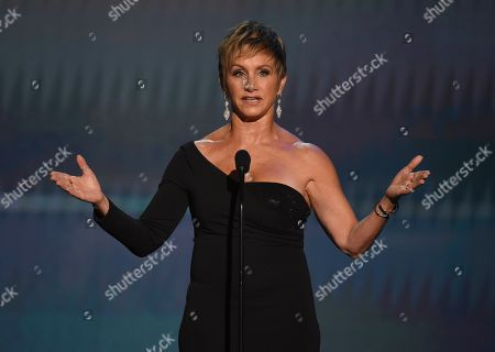 SAG-AFTRA President Gabrielle Carteris speaks at the 26th annual Screen Actors Guild Awards at the Shrine Auditorium & Expo Hall, in Los Angeles