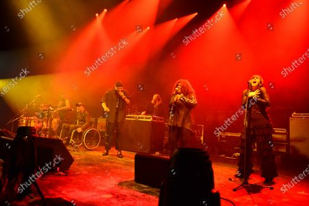 Stock Image of Rockers Revenge - Vocalist Donnie Calvin, Dwight Hawkes, DJ and producer Arthur Baker, backing vocalists Tina B and Adrienne Johnson