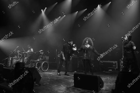 Stock Picture of Rockers Revenge - Vocalist Donnie Calvin, Dwight Hawkes, DJ and producer Arthur Baker, backing vocalists Tina B and Adrienne Johnson