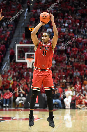 San Diego State forward Matt Mitchell (11) shoots during the second half of an NCAA college basketball game against Nevada, in San Diego. San Diego State won 68-55