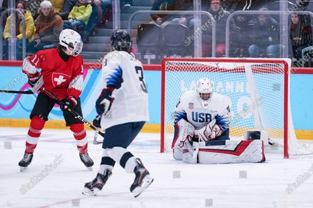 Men's Ice Hockey:   Switzerland v USA - #30 Goalkeeper Arthur Smith (USA)