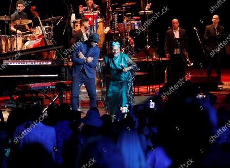 Omara Portuondo performs during a tribute concert organized by composer Roberto Fonseca (C-L) during the closing ceremony of 35th Havana Jazz Festival, in Havanna, Cuba, late 19 January 2020.