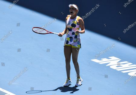 Donna Vekic celebrates victory after her Women's Singles First Round match against Maria Sharapova