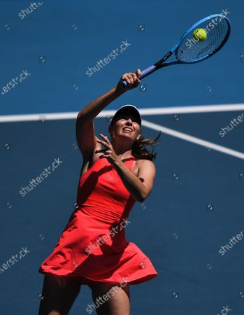Maria Sharapova in action during her Women's Singles First Round match