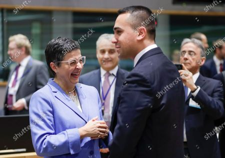 Spanish Minister of Foreign Affairs, European Union and Cooperation Arancha Gonzalez Laya (L) and Italian Foreign Affairs Minister Luigi Di Maio (R) attend a European Foreign Affairs Council in Brussels, Belgium, 20 January 2020.