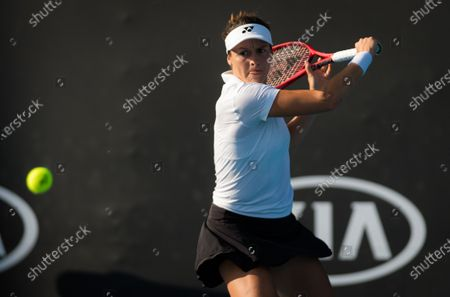 Tatjana Maria of Germany in action during her first round match at the 2020 Australian Open Grand Slam tennis tournament