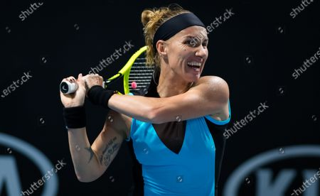 Svetlana Kuznetsova of Russia in action during her first round match at the 2020 Australian Open Grand Slam tennis tournament