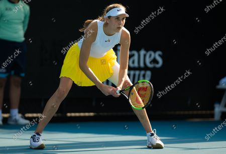 Antonia Lottner of Germany in action during her first round match at the 2020 Australian Open Grand Slam tennis tournament