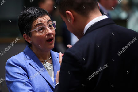 Luigi Di Maio, Arancha Gonzalez. Spanish Foreign Minister Arancha Gonzalez, left, talks to her Italian counterpart Luigi Di Maio during an European Foreign Affairs meeting at the Europa building in Brussels