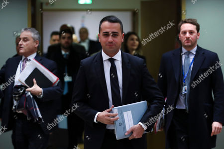Italian Foreign Minister Luigi Di Maio arrives to an European Foreign Affairs meeting at the Europa building in Brussels