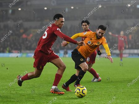 Trent Alexander-Arnold of Liverpool and Joao Moutinho of Wolverhampton Wanderers