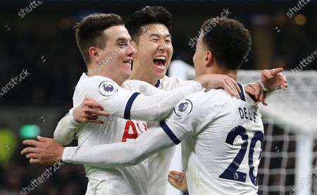Heung-Min Son of Tottenham Hotspur  celebrates scoring his sides second goal with team-mate   Giovani Lo Celso of Tottenham Hotspur  and  Dele Alli of Tottenham Hotspur