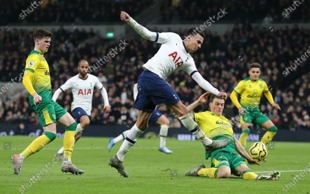 Stock Photo of Dele Alli of Tottenham Hotspur  has a shot    which is later converted to Spurs 2nd goal by  Heung-Min Son