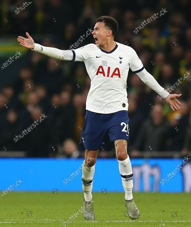 Stock Image of Dele Alli of Tottenham Hotspur  reacts