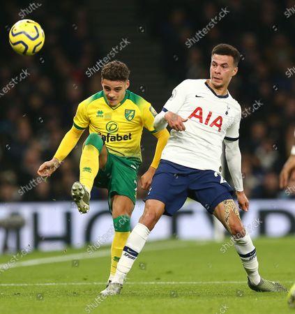 Dele Alli of Tottenham Hotspur  and Maximillian Aarons of Norwich City