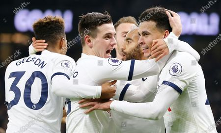 Giovani Lo Celso of Tottenham Hotspur  celebrates Spurs 2nd goal with team-mate  Dele Alli
