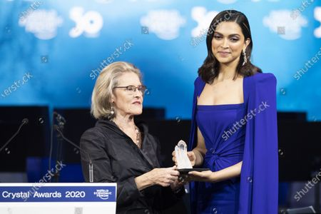 Hilde Schwab, Chairperson and Co-Founder WEF (L) and Deepika Padukone, Founder of the Live Love Laugh Foundation, pictured during the 26th Crystal Award Ceremony during the 50th annual meeting of the World Economic Forum, WEF, in Davos, Switzerland, 20 January 2020. The meeting brings together entrepreneurs, scientists, corporate and political leaders in Davos from January 21 to 24.