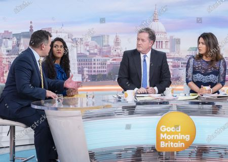 Stock Photo of Paul Burrell and Sherelle Jacob with Piers Morgan and Susanna Reid