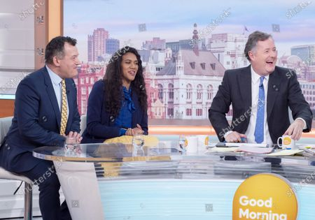 Paul Burrell and Sherelle Jacob with Piers Morgan