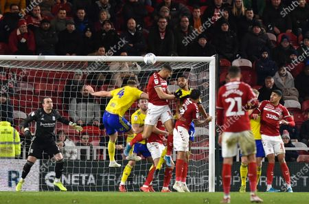 Stock Photo of Rudy Gestede of Middlesbrough heads just over Goalkeeper Lee Camp of Birmingham City's goal