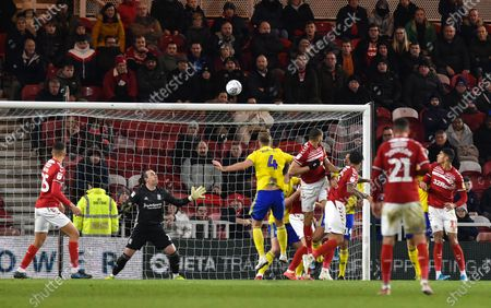 Rudy Gestede of Middlesbrough heads just over Goalkeeper Lee Camp of Birmingham City's goal