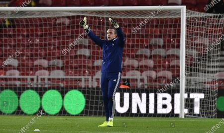Goalkeeper Lee Camp of Birmingham City gives the thumbs up in the warm up