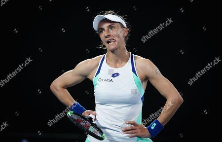 Lesia Tsurenko of Ukraine looks on during her women's singles first round match
