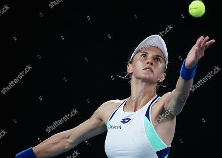 Lesia Tsurenko of Ukraine serves during her women's singles first round match