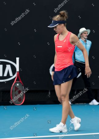 Viktorija Golubic of Switzerland reacts during her women's singles first round match