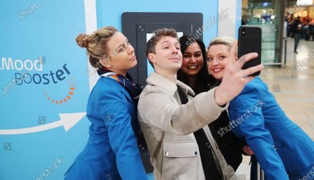 BBC Radio 1 presenter Matt Edmondson launches KLM Royal Dutch Airlines' Mood Booster pop up, which dispenses Dutch-inspired moments of joy on one of the most depressing days of the year - Asha Ladwa wins a bike