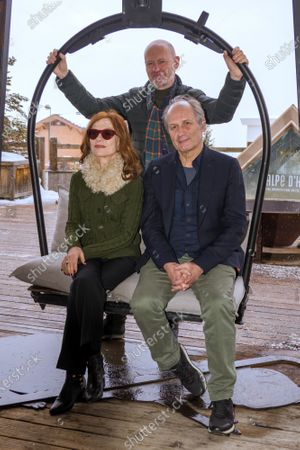 Isabelle Huppert, Jean-Paul Salome and Hippolyte Girardot attend 'La daronne' photocall