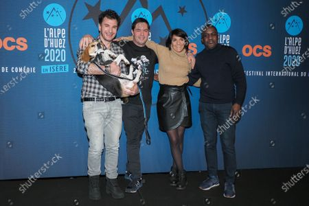 Michael Youn, Lucky (dog), Olivier Van Hoofstadt, Florence Foresti and Kody Kim attend the 'Lucky' photocall