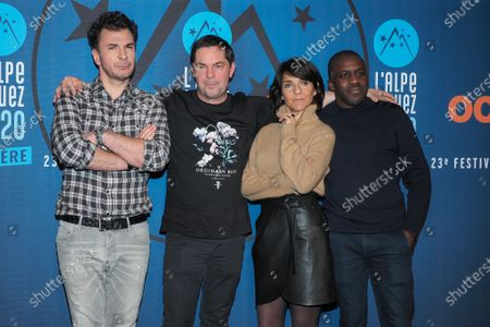 Michael Youn, Olivier Van Hoofstadt, Florence Foresti and Kody Kim attend the 'Lucky' photocall