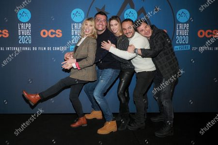 Caroline Anglade, Michael Youn, Arnaud Ducret, Claire Francisci and Francois-Xavier Demaison attend the 'Divorce club' screening