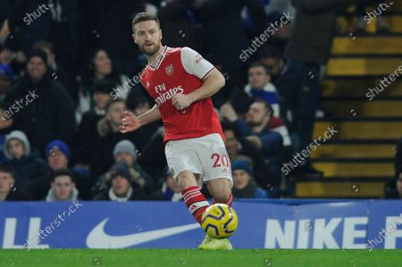 Shkodran Mustafi of Arsenal in action during the Premier League match between Chelsea and Arsenal at Stamford Bridge in London, UK - 21st January 2020